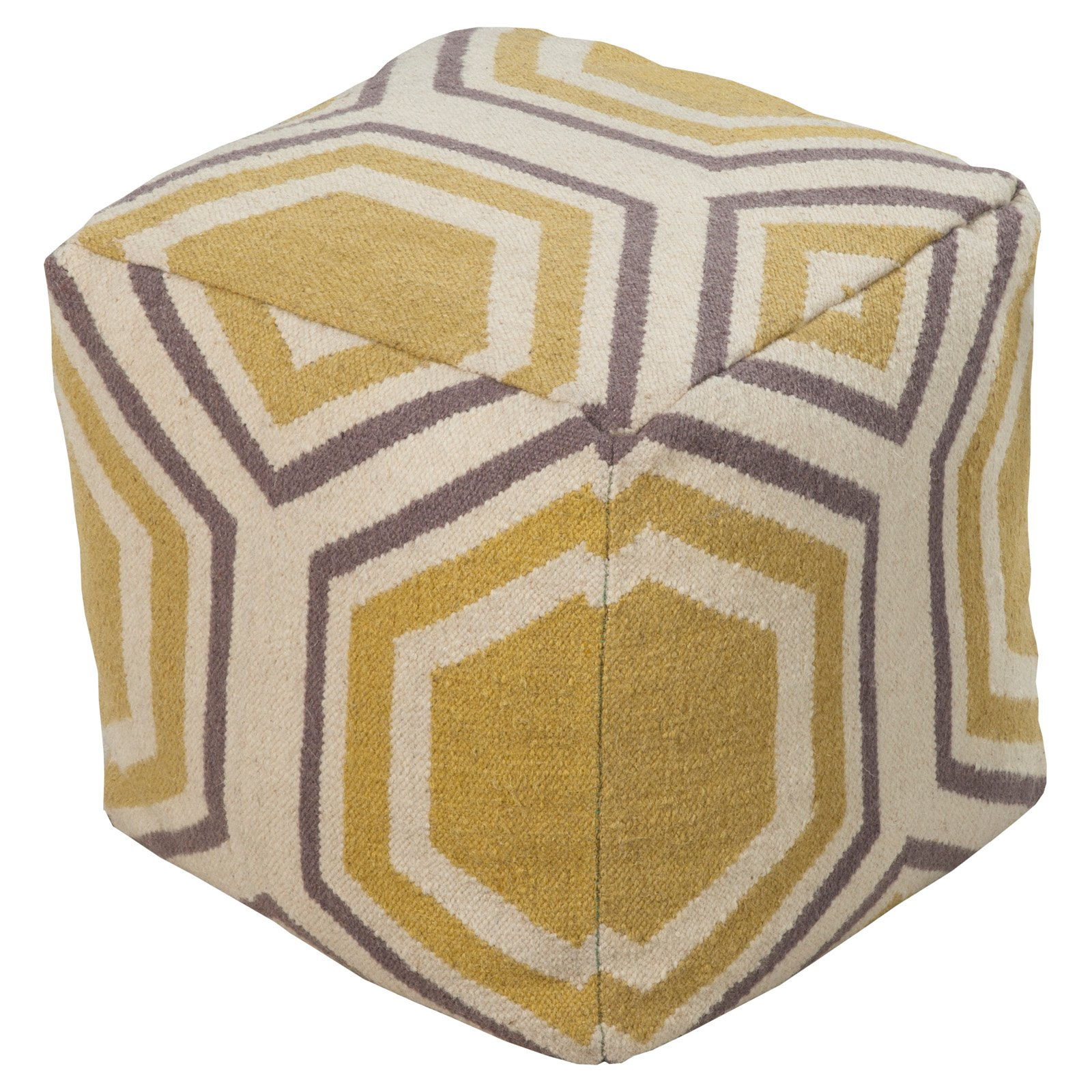 Surya 18 in. Cube Wool Pouf Ivory   Parsnip by Surya