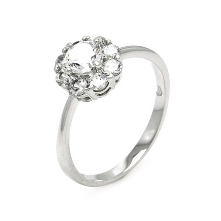 Clear Cluster Cubic Zirconia Flower Bridal Ring Rhodium Plated Sterling Silver Size 8