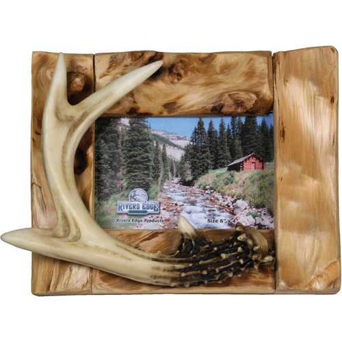 "Rivers Edge Products 4"" x 6"" Deer Antlers on Fir Wood Picture Frame"