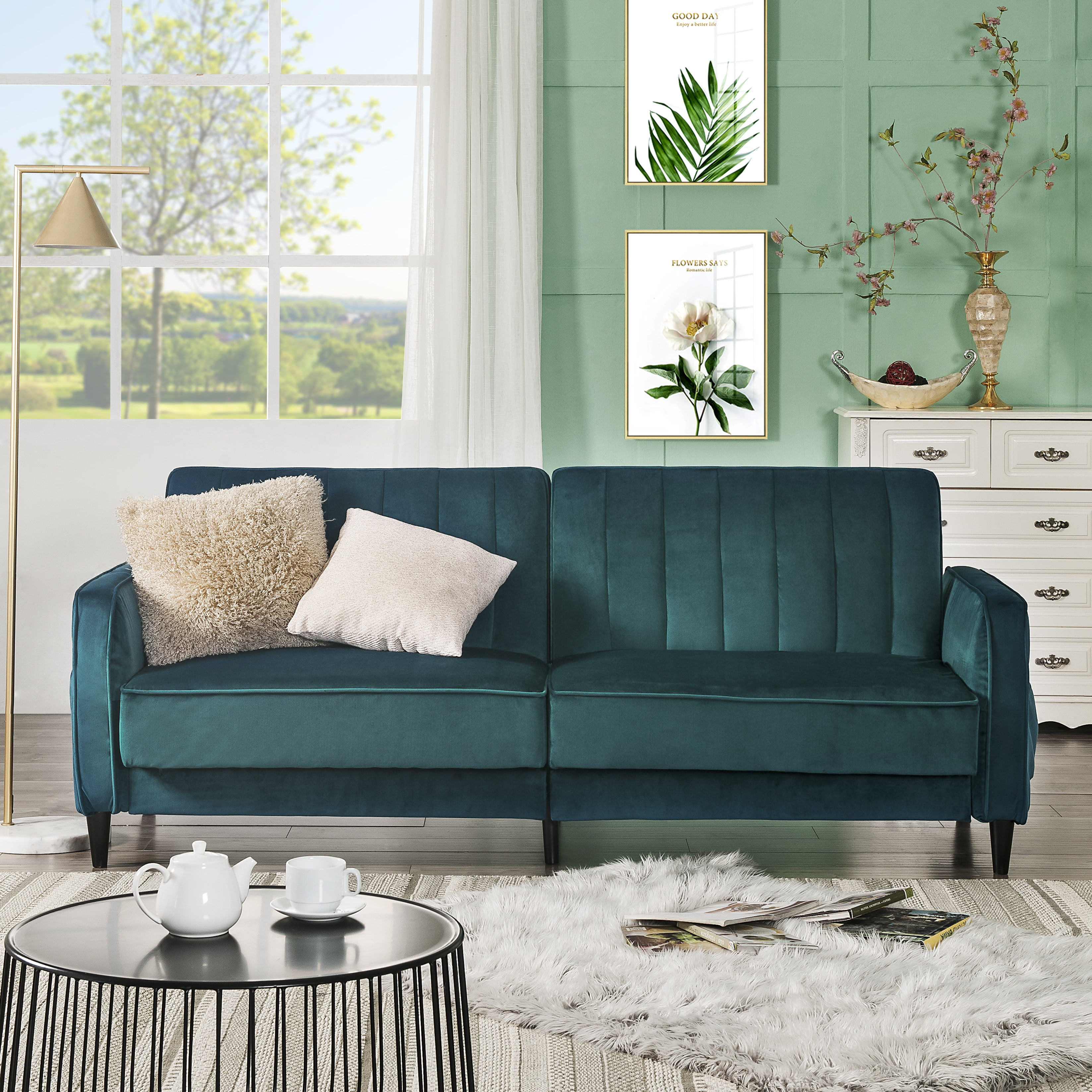 Mid Century Modern Sofa Bed, 3 Seater Sectional Sofa with ...