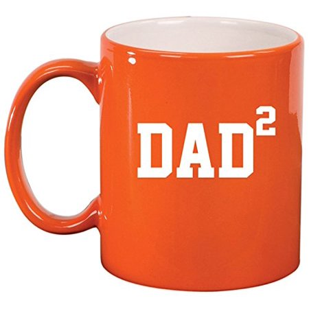 Ceramic Coffee Tea Mug Cup DAD x2 Squared Father Of 2 (Orange)