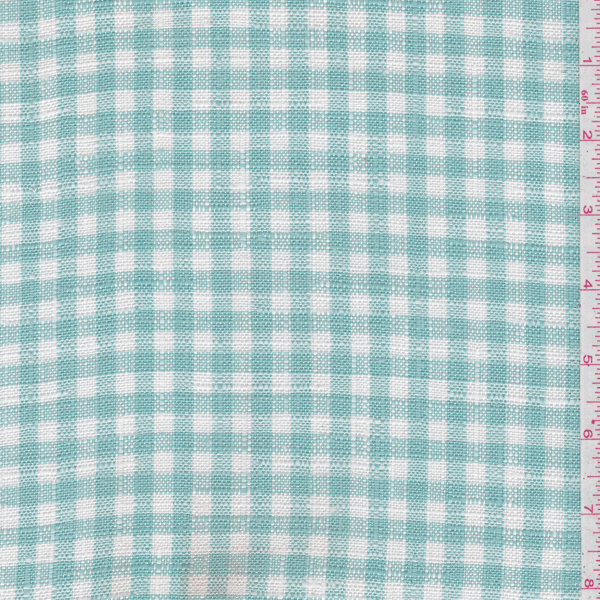 Aqua/Ivory Check Suiting, Fabric By the Yard