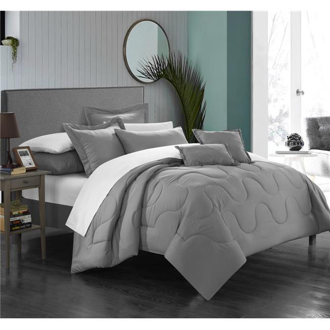 Chic Home CS3922-US Demaria Bedding Basics, Down Alternative Solid Comforter Set - Silver - Queen - 7 Piece