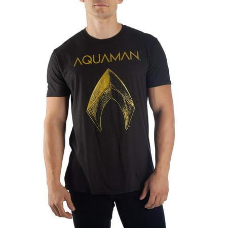 Super Heroes Men's dc comics aquaman metallic logo short-sleeve black tee
