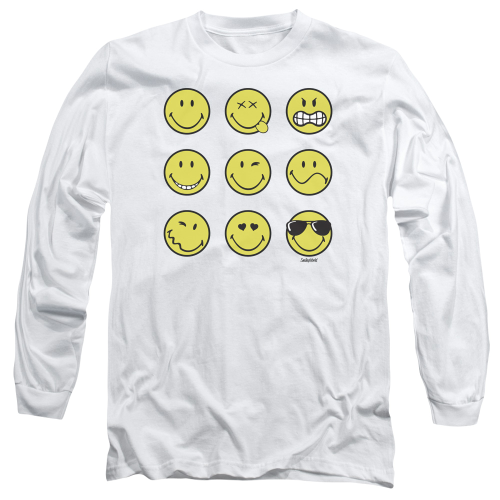 Smiley World Nine Faces Mens Long Sleeve Shirt