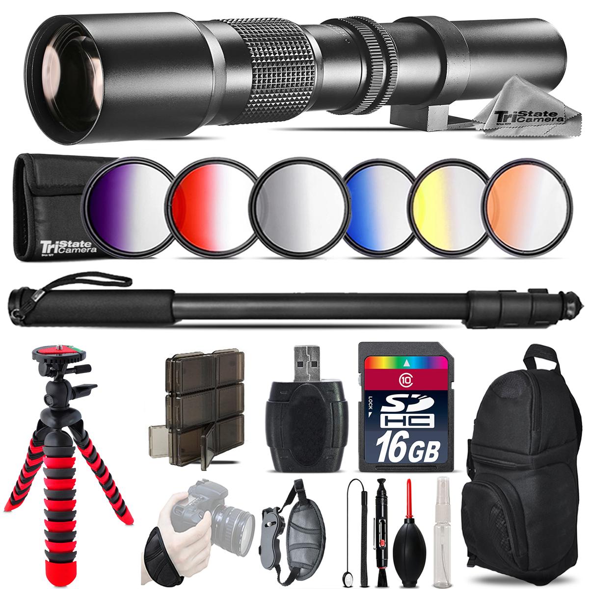 500mm Telephoto Lens for Nikon D5600 D7500 + Flexible Tripod & More - 16GB Kit