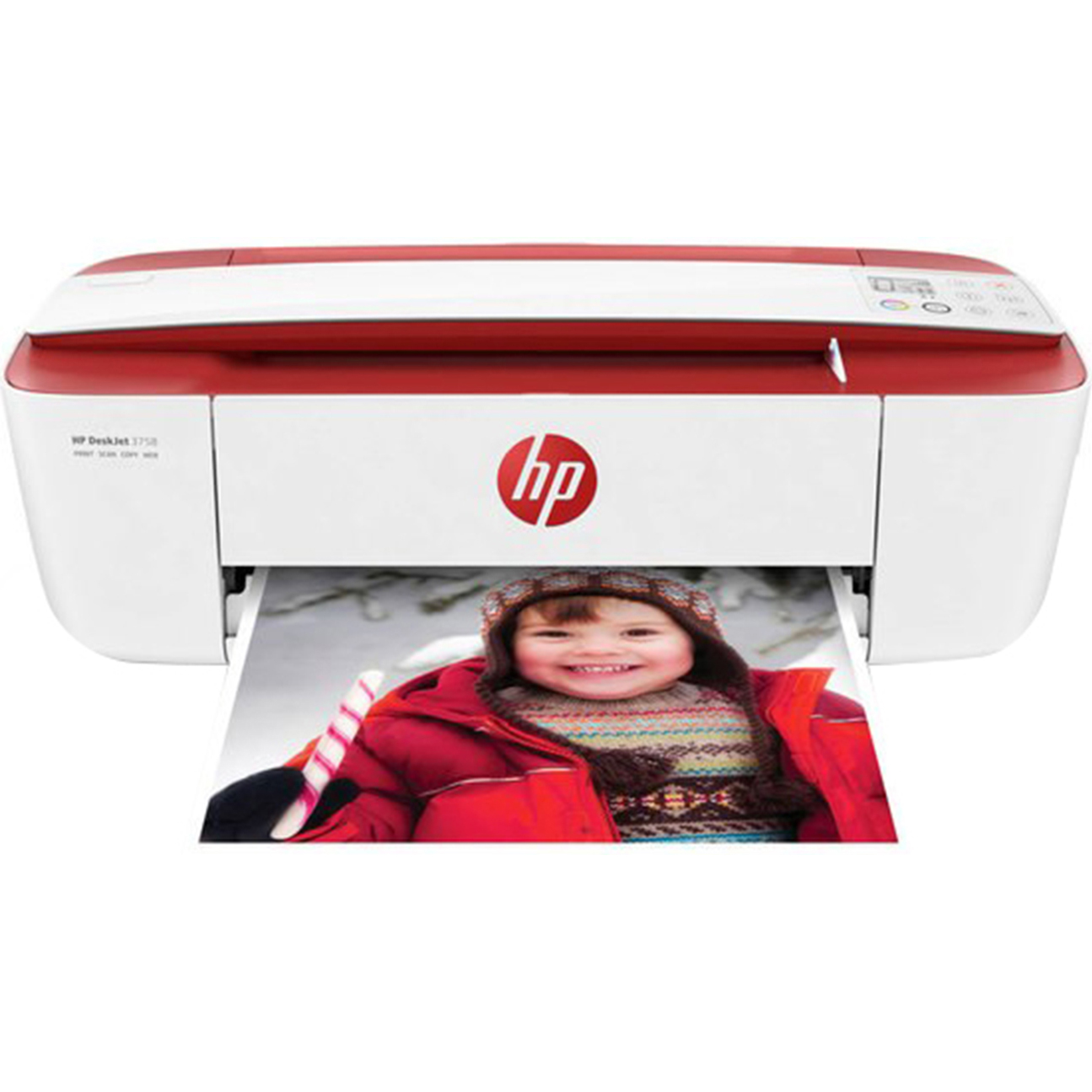 Refurbished HP 3755 All-in-One Color Ink Jet Printer, Red
