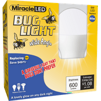 Miracle LED Wide Angle Yellow Outdoor Bug Light Replace 60W 2-Pack