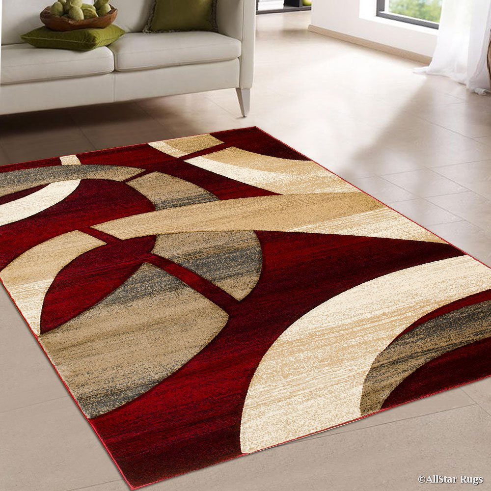 Allstar Red Carved Circles Modern Geometric Area Rug 7 9