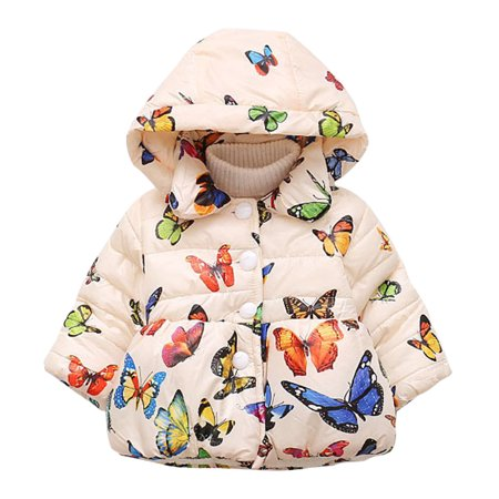 Baby Girl Butterfly Pattern Thick Cotton-padded Hooded Coat Outwear Warm Clothes for Winter