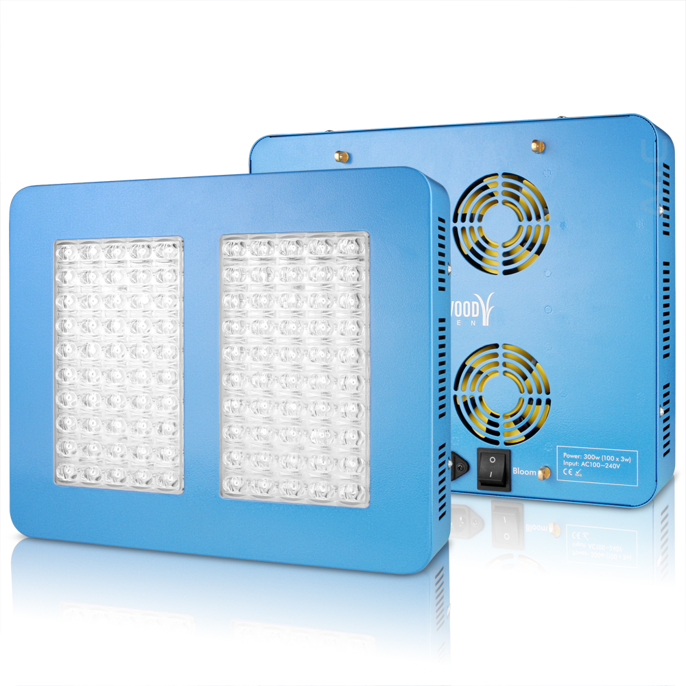 Sandalwood 300W Dual Mode LED Grow Light for Hydroponic Garden and Greenhouse Use - Dual Grow / Bloom Spectrum