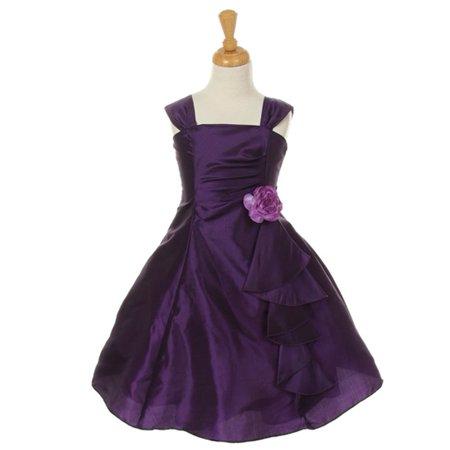 Cinderella Couture Little Girls Purple Taffeta Corsage Flower Girl Dress 2 6