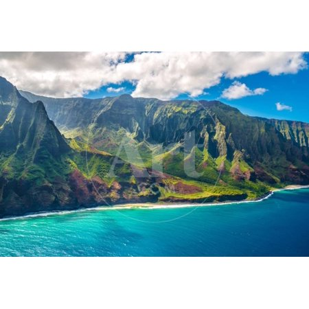 View on Napali Coast on Kauai Island on Hawaii Coastal Coastline Photography Print Wall Art By Alexander (Best Way To See Napali Coast)