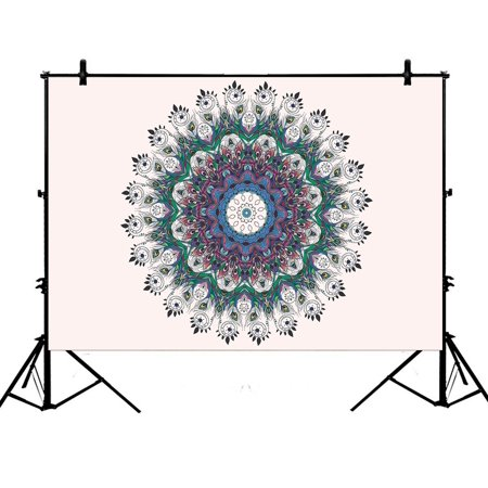 PHFZK 7x5ft Hippie Indian Mandala Backdrops, Bright Pattern with Peacock Photography Backdrops Polyester Photo Background Studio Props (Hippie Photo)