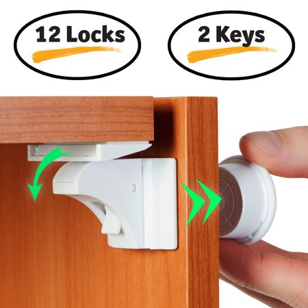 Baby proof magnetic cabinet locks for child safety 12 for Baby proof kitchen cabinets
