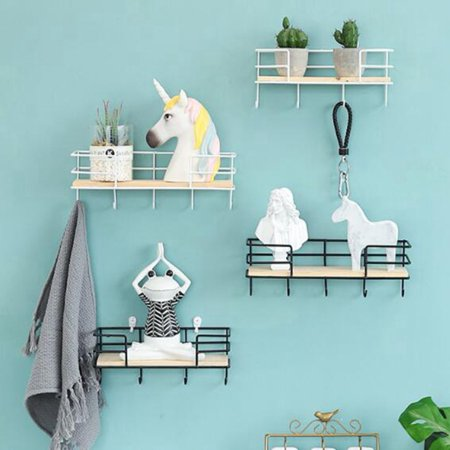 Retro Wall Mounted Shelf Wire Rack Storage Unit With Hooks Basket Key Hanger ()