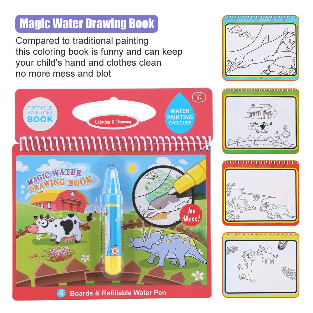 Yosoo Portable Children Magic Coloring Painting Book with Water ...