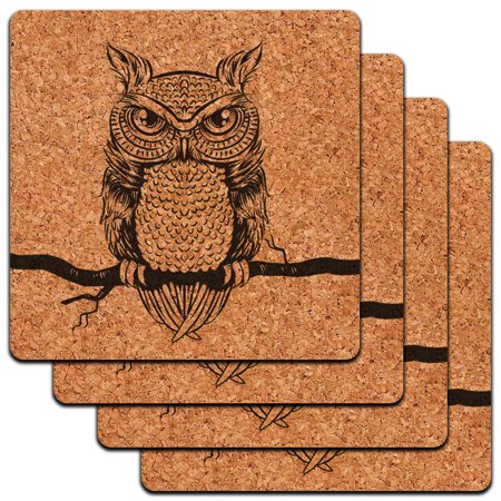 Casters Antique - Owl Perched on Tree Branch Antique Rustic Tribal Low Profile Cork Coaster Set