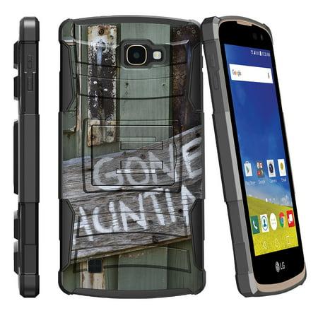 LG K4 L44VL, LG Optimus Zone 3, LG Spree K120, LG Rebel VS425 Miniturtle® Clip Armor Dual Layer Case Rugged Exterior with Built in Kickstand + Holster - Gone