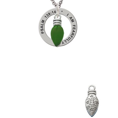 Silvertone Christmas Lights - Green Resin Psalm 139:14 Affirmation Ring Necklace - Christmas Light Necklaces