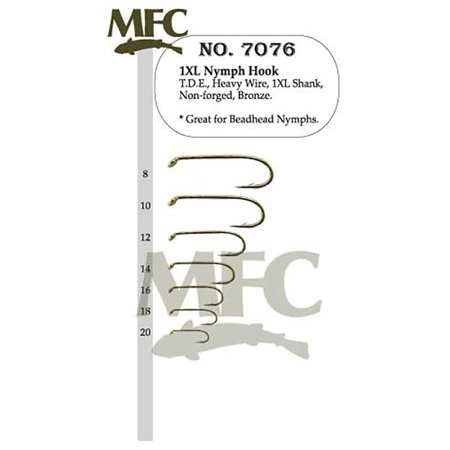 1XL Nymph Hook 7076 - Size 14 - 25 Pack, By MONTANA FLY COMPANY