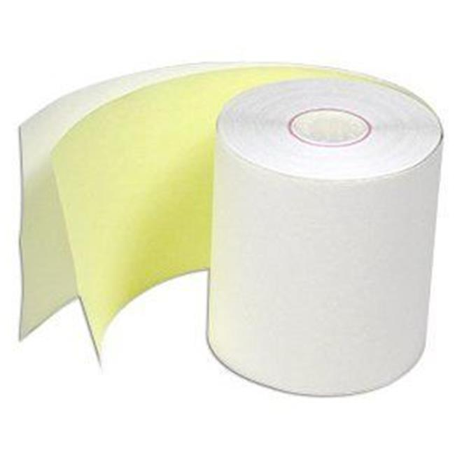 Adorable Supply MP21495CIT1 2 Ply White-Canary Carbonless Paper Rolls 2.25 in. W x 100 ft. L by Adorable Supply Corp