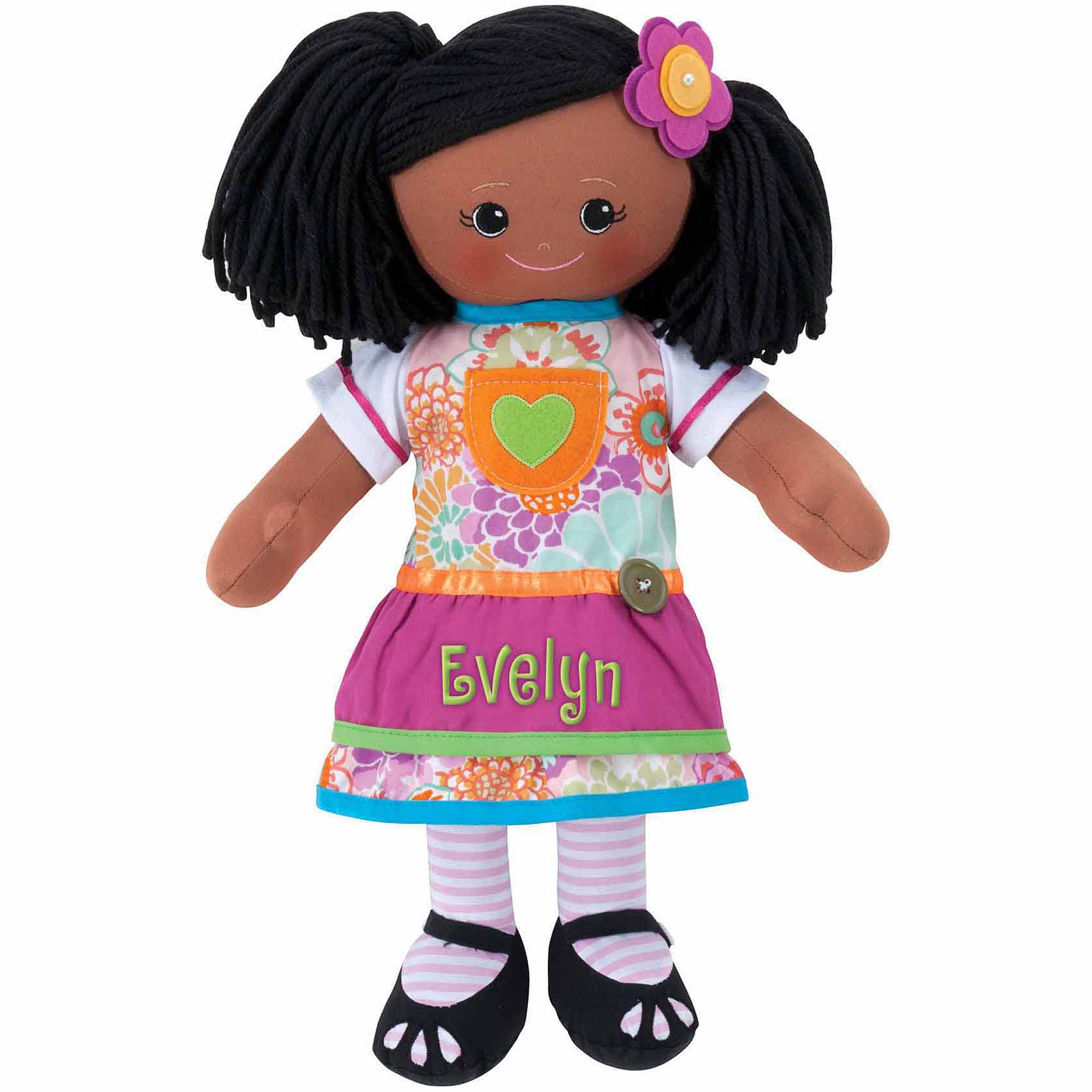 Personalized African American Doll With Pink Dress and Hair Clip