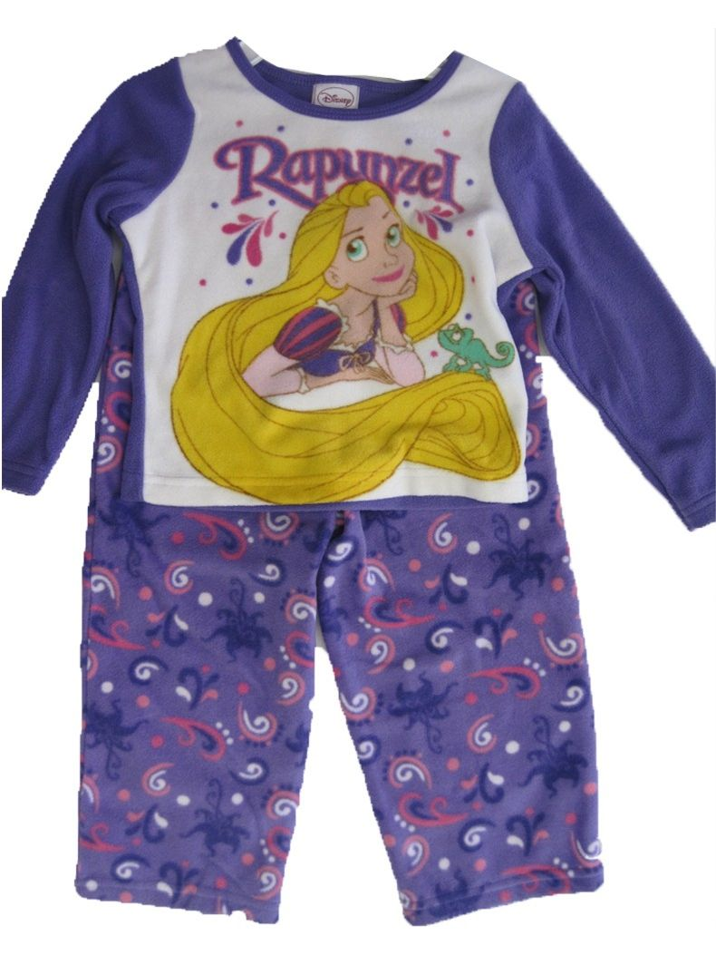 Little Girls Purple Rapunzel Image Print 2 Pc Pajama Set 2T-4T