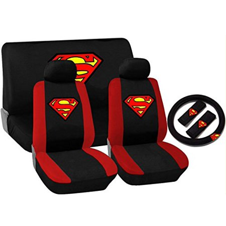 11 Piece Black And Red Superman Logo Seat Cover Set For Honda Cars  2 Front Seats   Rear Bench   Steering Wheel Cover   Shoulder Pads