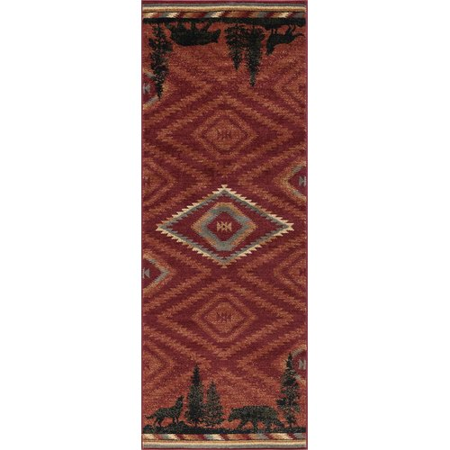 Millwood Pines Villicana Colorblock Wildlife Novelty Lodge Red Area Rug