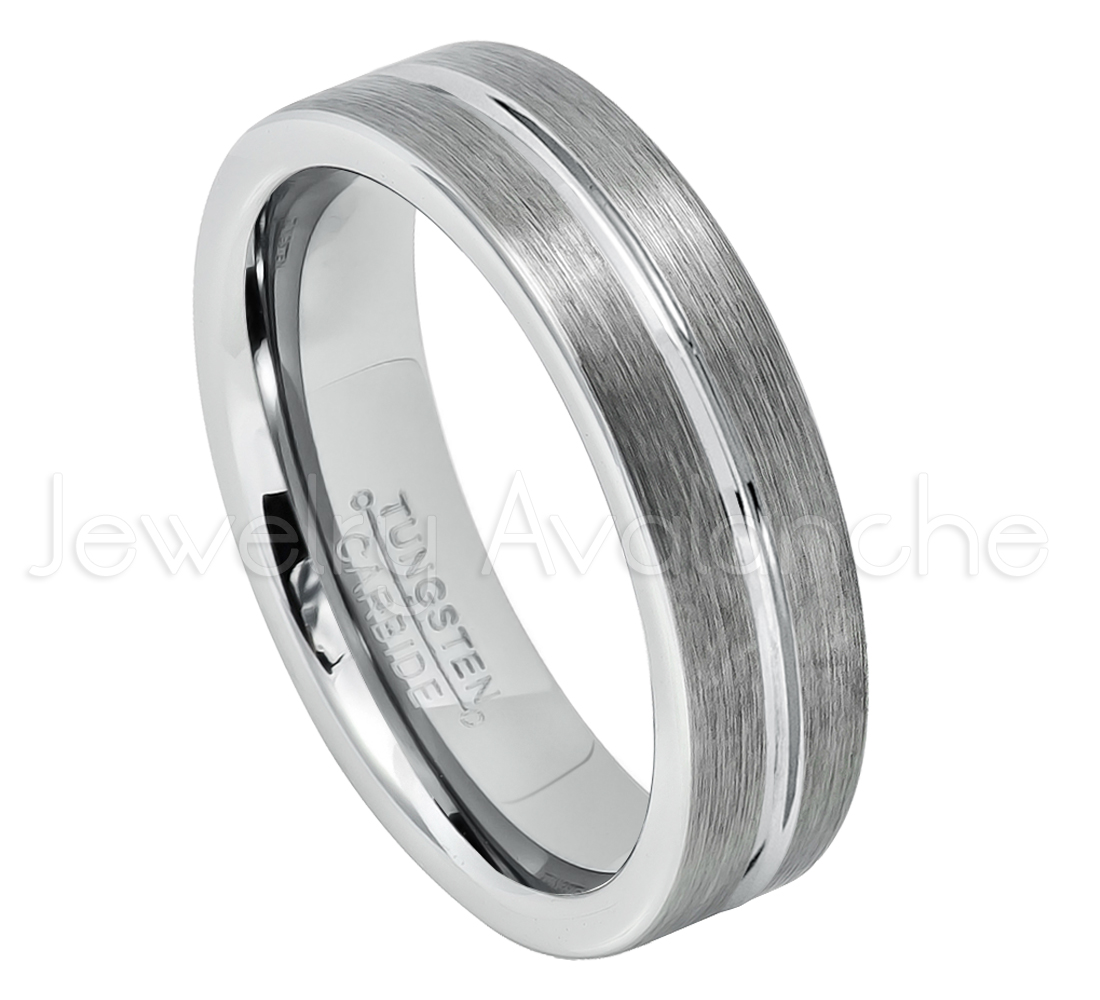 6mm Pipe Cut Tungsten Wedding Band - Brushed Finish Grooved Center Comfort Fit Tungsten Carbide Ring - Tungsten Anniversary Ring - TN047s11