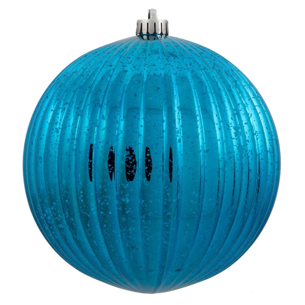 "10"" Shiny Turquoise Ribbed Mercury Pumpkin Shatterproof Christmas Ball Ornament"