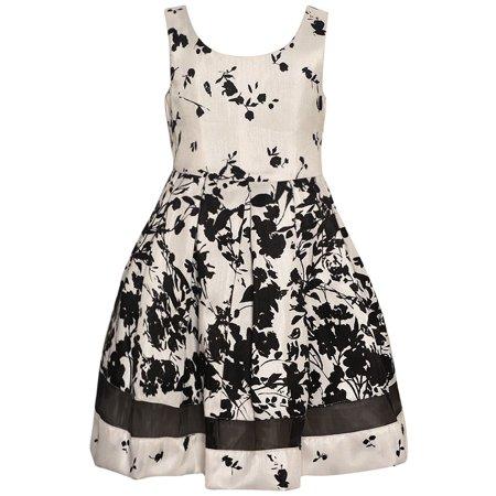 Bonnie Jean Girls Ivory Black Abstract Floral Print Sleeveless - Bonnie Jean Ivory Dress