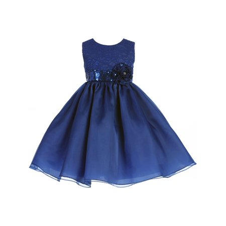 Crayon Kids Little Girls Royal Blue Sequin Flower Adorned Christmas Dress