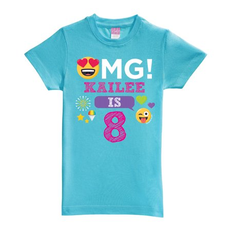 Emoji OMG Birthday Aqua Fitted Youth Tee](Windy Emoji)