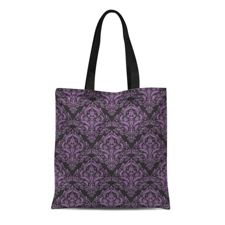 ASHLEIGH Canvas Tote Bag Classic Black and Purple Damask Pattern Classy Unique Beautiful Reusable Handbag Shoulder Grocery Shopping Bags Classic Beaded Purse Patterns