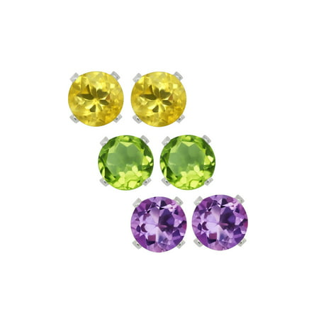 925 Sterling Silver Amethyst Citrine and Peridot Stud Earrings Set of 3