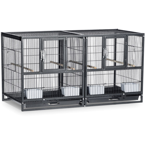 Prevue Pet Products Hampton Deluxe Divided Breeder Cage, Black Hammertone