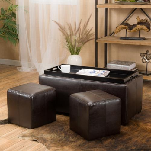 Ava Brown Leather Storage Ottoman
