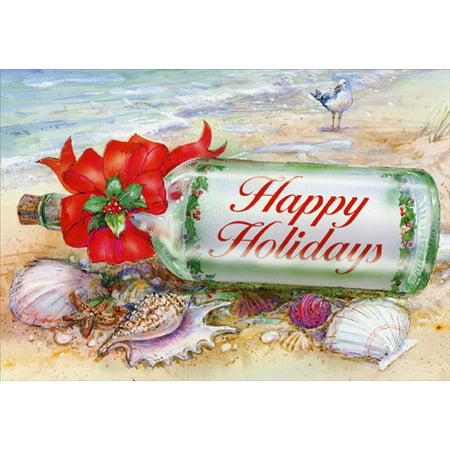- Red Farm Studios Holiday Message in Bottle Beach Christmas Card
