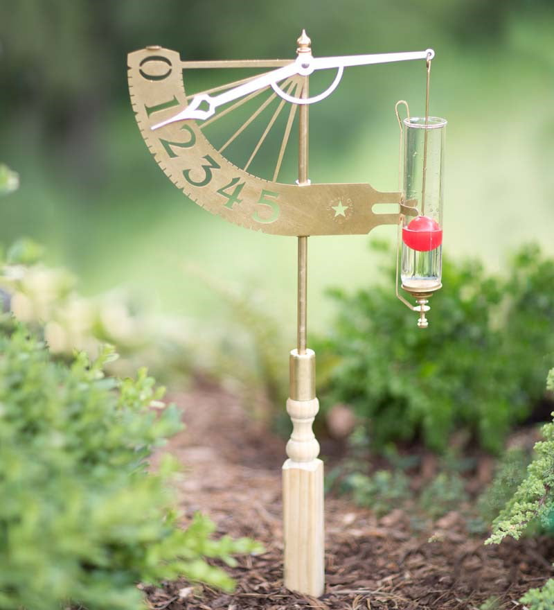 Solid Brass Jeffersonian Rain Gauge by Rain Gauges