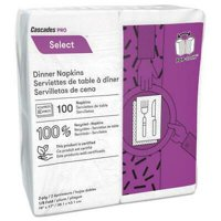 CSDN210 Select Dinner Napkins, 2-Ply, 3 3/4 x 8 1/2, White, 100/Pack, 3000/Carton