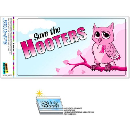 Save the Hooters Owl Breast Cancer Awareness Pink Ribbon Automotive Car Window Locker Bumper Sticker