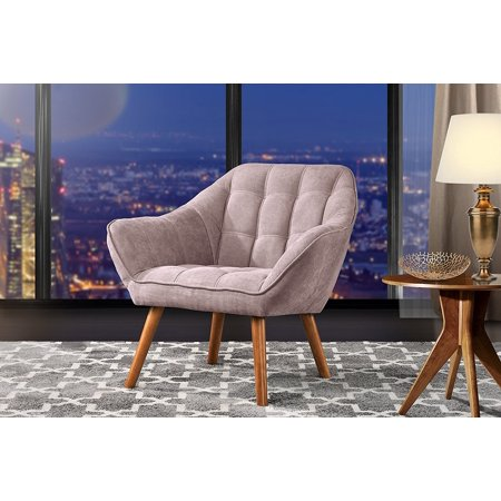Accent Chair for Living Room, Linen Arm Chair with Tufted Detailing and Natural Wooden Legs (Pink) - Hot Pink Chair