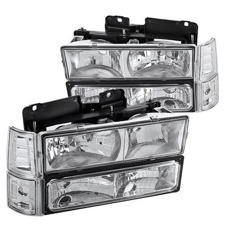 Spec-D Tuning For 1994-1998 Gmc C10 C/K Sierra Chrome Headlights + Bumper Lights Corner Lights + Clear Reflectors 1994 1995 1996 1997 1998 (Left+Right) ()