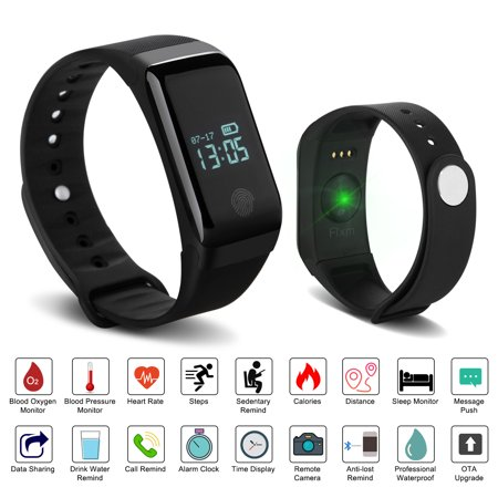 Fixm IP67 Waterproof Fitness Tracker Smart Wristband Heart Rate Blood Pressure Oximeter Blood Oxygen Sleep (Best Rated Fitness Tracker)