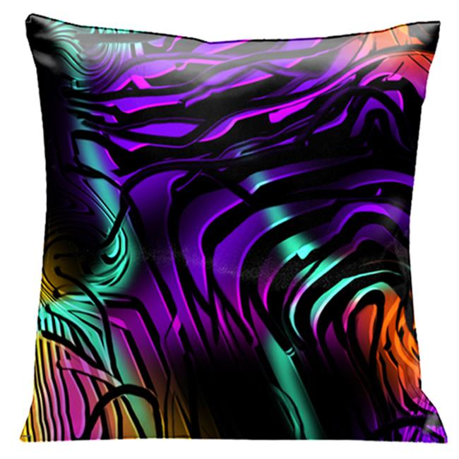 Lama Kasso 56 Mystery at Midnight, Black Swirls Over Deep Purple, Orange and Green 18 in. Square Satin Pillow