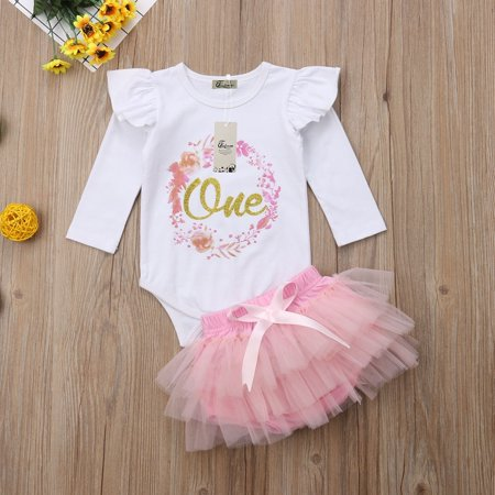 Baby Girl 1st Birthday Outfit.Baby Girl 1st Birthday Outfit One Year Party Cake Smash Tutu Skirt Clothes Set