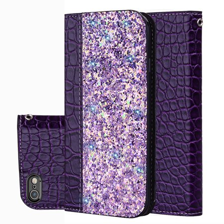 iPhone 8/iPhone 7 Case, iPhone 8/iPhone 7 Cover, Allytech Unique Bling Design PU Leather Wallet case with Wrist Strap Flip Folio Kickstand Cover for iPhone 8/ iPhone 7 4.7-inch Phone, Purple