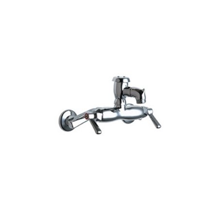 Chicago Faucets Wall Mounted Service Sink Faucet with Vacuum Breaker Rigid Spout and Double Lever Handle Double Lever Faucet